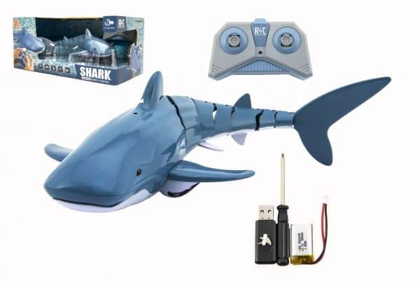 Žralok Rc Plast 35Cm Na Diaľkové Ovládanie Na Batérie V Krabici 38X17x20cm