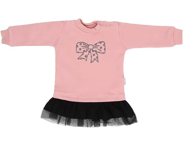 Mamatti Dojčenské tričko, tuniverzálnaka s čiernym tylom Mašle - púdrové
