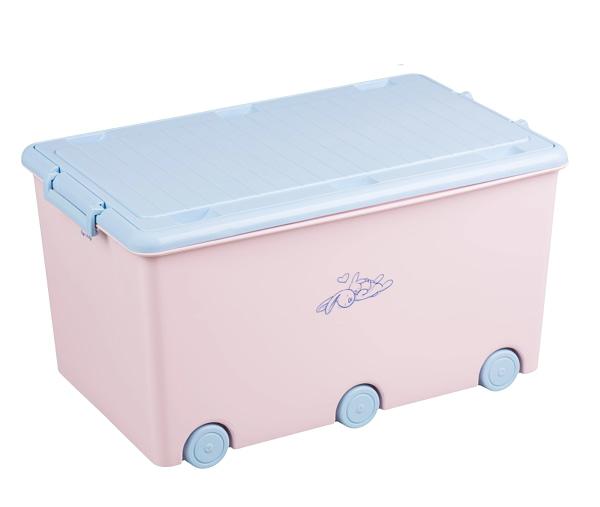 Tega baby pojazdný box na hračky zajáčik - ružová