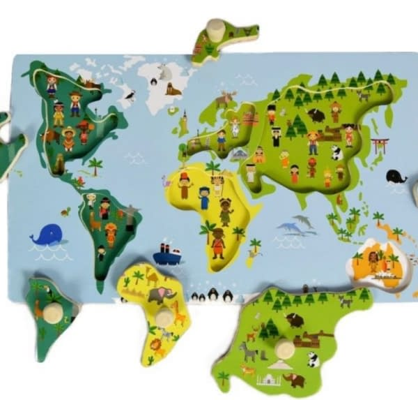 Adam Toys Edukačná Vkladačka S Úchytmi - Mapa Sveta