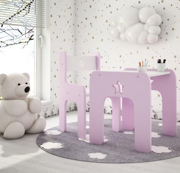 Nellys Sada Nábytku Star - Stôl + Stoličky - Rúžová S Bielou D19