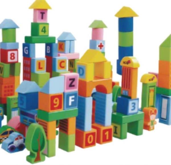 Drevené Kocky Vo Vedierku Eco Toys 100 Ks - Pastelové Farby, Mestečko