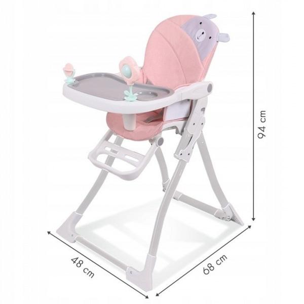 Eco toys Jedálenská stolička - Ružový medvedík
