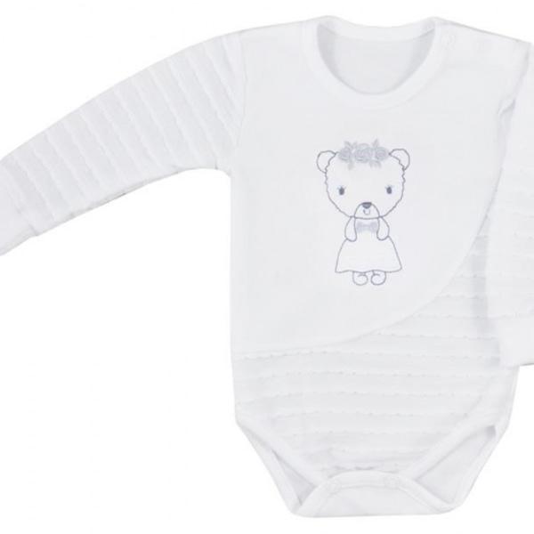 Koala Baby Body S Dlhým Rukávom Dominika - Medvedík, Biele