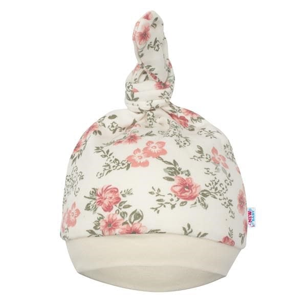 Dojčenská čiapočka new baby flowers béžová