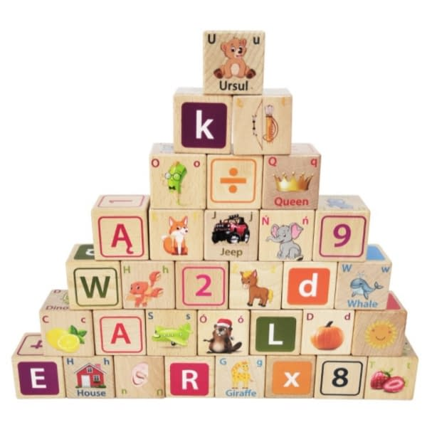 Drevené Kocky Eco Toys 32 Ks - Číslice, Písmenká, Obrázky