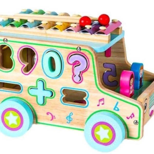 Eco Toys Drevené Edukačné Auto S Xylofónom