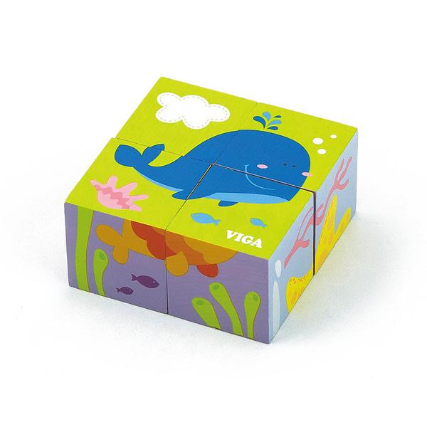 Drevené Puzzle Kocky Pre Najmenších Viga Veľryba
