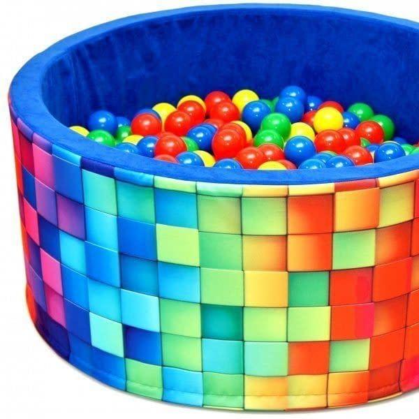 NELLYS Bazén pre deti 90x40cm kruhový tvar + 200 balónikov - modrý, barevné kostičky, Ce19