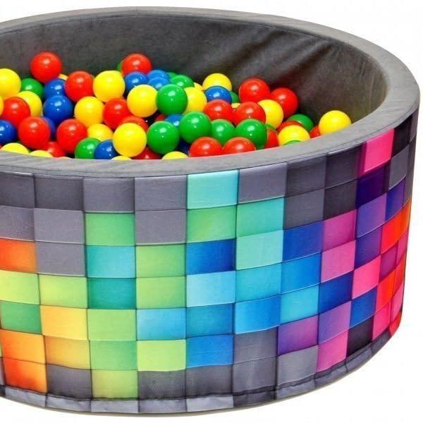 NELLYS Bazén pre deti 90x40cm kruhový tvar + 200 balónikov - šedý, barevné kostičky, Ce19