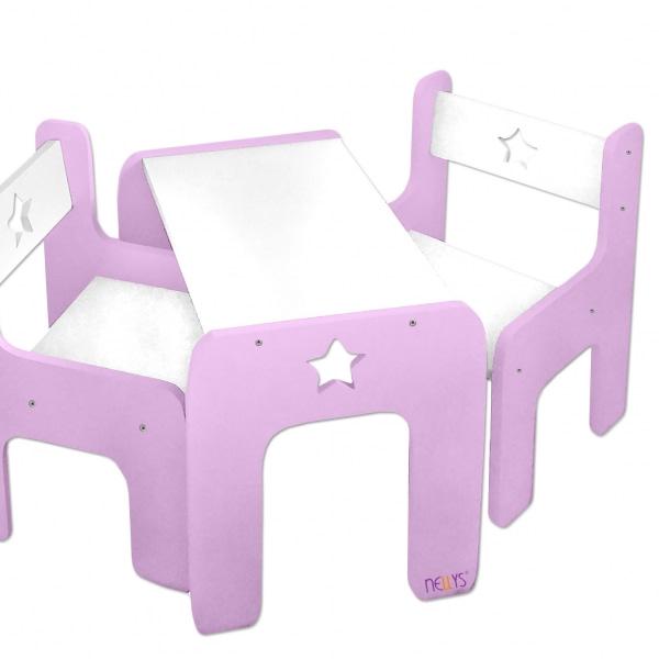 Nellys Sada Nábytku Star - Stôl + 2 X Stoličky - Ružová D19