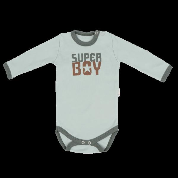 Mamatti Detské Bavlnené Body Super Boy - Mätové